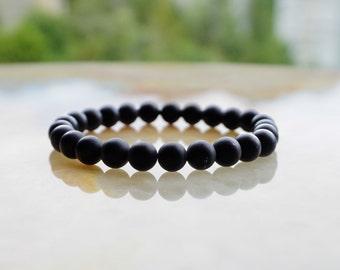 Matte Black Onyx Bracelet,Mens Gemstone Bracelet,Mens Beaded Bracelet,Mens Bracelet,Gift for Him,Black Bracelet,Mens Jewelry
