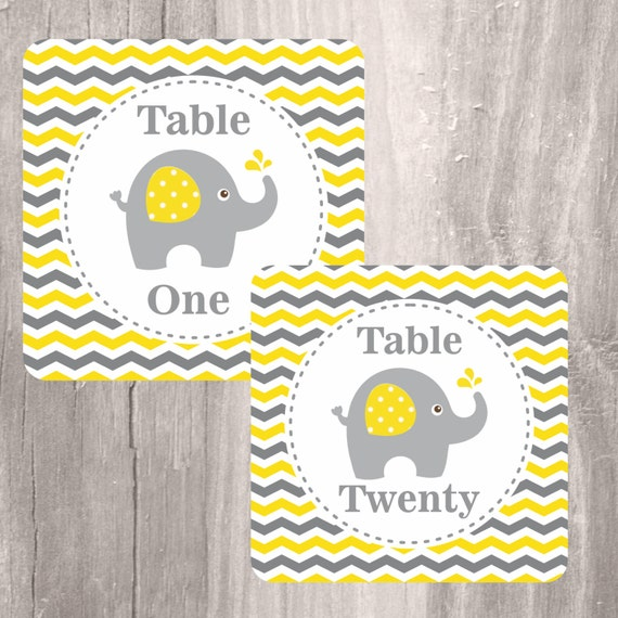 Elephant Baby Shower Printable Table Numbers, Instant Download, Yellow And Grey  Elephant 20 Printable Table Numbers, Baby Shower Decoration