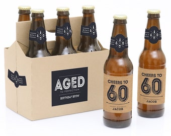 60th Birthday Beer Labels - 6 Beer Bottle Labels & 1 Carrier - Aged to Perfection Funny Birthday Gift - Personalized Milestone Birthday Gift