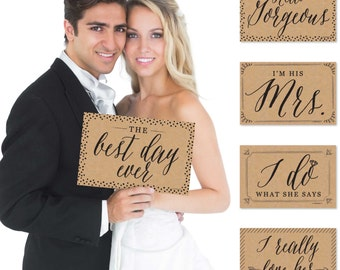 Wedding Announcement Personalized Photo Booth Prop Kit- Mug Shots - 10 Ct.