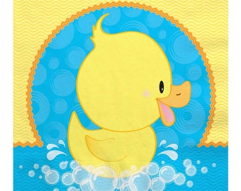 16 Count - Ducky Duck Luncheon Napkin - Baby Shower or Birthday Party Supplies