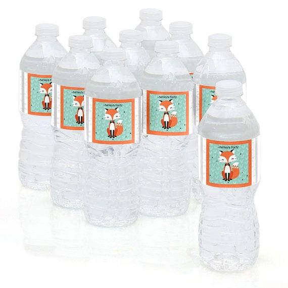 Mr  Foxy Fox - Water Bottle Sticker Labels - Personalized