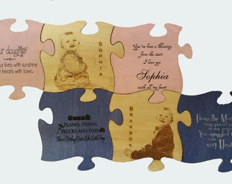 """Wood Puzzle wall art personalized and engraved with your photo 7""""x 7"""""""