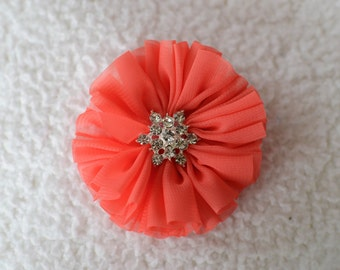 "3"" Ballerina Rhinestone Hair Flowers, Wholesale Chiffon Flower Head for Flower Head Bands, Lot of 1, 2, 5 or 10, Coral"