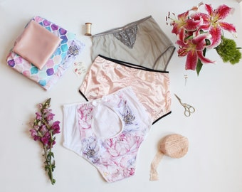 The Ultimate Burlesque Panties Sewing Pattern High Waist Knickers with Ruched Scrunch, Cut Out Peek-a-boo and Plain Back Variations