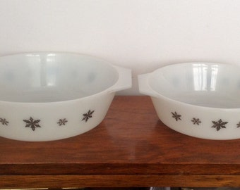 Two JAJ Pyrex Casserole Dishes. Snowflake, Gaiety. 1950's/60's
