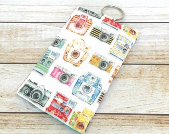 Watercolor Camera Print Fabric Wallet, Credit Card Wallet, ID Wallet, Cash Wallet, Business Card Holder, Keychain Wallet