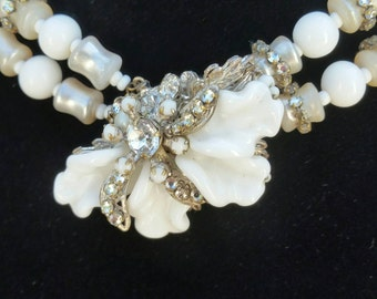 Bridal choker authentic Miriam Haskell white milk glass, c. 1940's cosplay 266 anchor