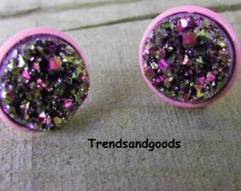 Druzy Drusy Rose Pink Fake Plugs Stud Earrings  Moon  Faux Plugs FP 076
