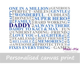 Dad/Daddy Personalised Canvas Print, Own Words, Gift, Father's Day, Present, Kids