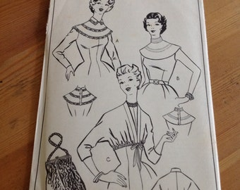 Woman vintage 1950s bolero, collar and bag pattern 301bust 38