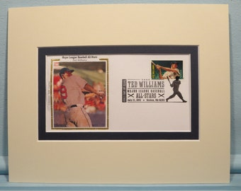 Hall of Famer and Red Sox Great Ted Williams and First Day Cover of his own stamp
