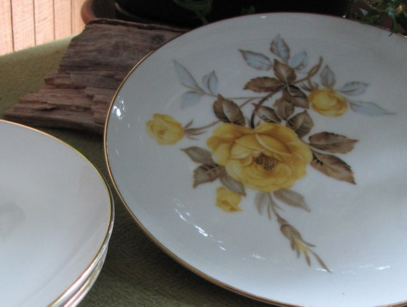 Cotillion Dinnerware by Sango Yellow Roses Salad Plates 1950s Set of Four (4)