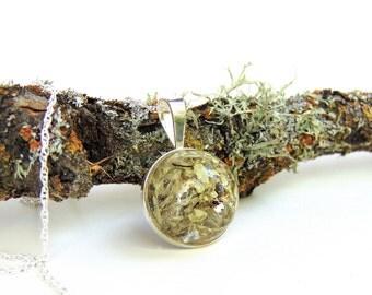 Sterling Silver Moss Necklace - Terrarium