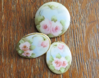 Antique Hand-painted flowers on China Brooch and Cuff links-free shipping USA
