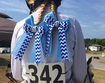 Horse Show Hair Bows/Beautiful Blue Chevron Hair Accessory