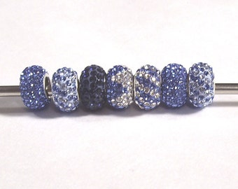 Bling Lovers! Set of 7 Blue Crystal Beads, European-style, Large Hole with Sterling Silver Cores