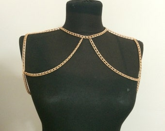 gold shoulder chain, rose gold, body chain, body jewelry, shoulder jewelry,
