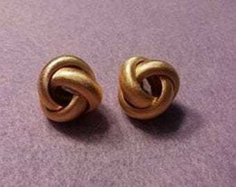 Vintage Monet Gold Tone Knot Clip On Earrings