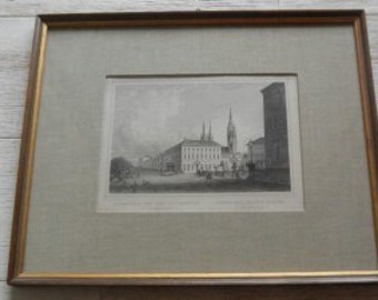 Antique German Engraved Print of Weisbaden!