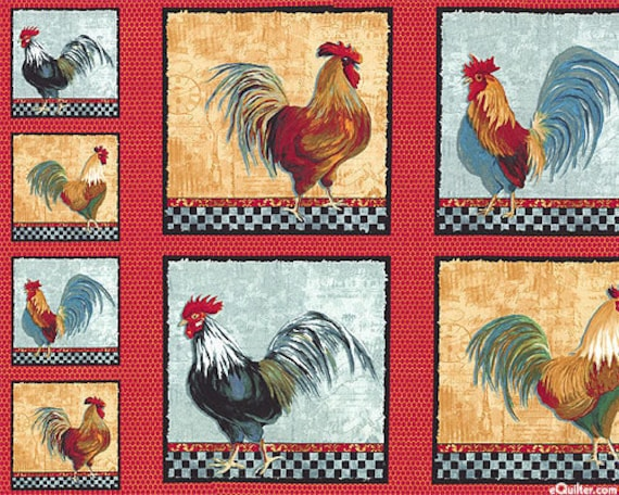 country kitchen fabric items similar to country kitchen roosters quilt fabric 2793