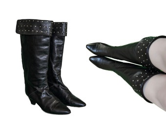 Vintage 80s Black Leather Gold Studded Knee Boots Size 8