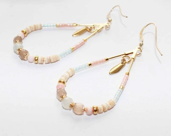 Gold plated earrings with aquamarine and moon stones and sea shell pearls