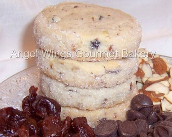 Almond Cherry Chip Shortbread Cookies 1 dozen, Gourmet Butter Cookies,