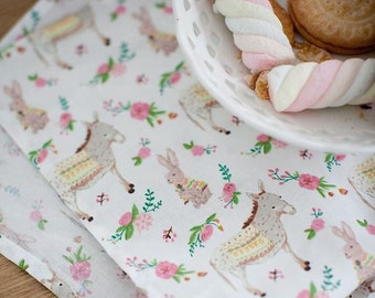 Lovely Pony and Rabbit Pattern Cotton Fabric by Yard