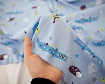 Crocodile and hedgehog Pattern Cotton Knit Fabric, Cotton Rib Stretchy Knit Fabric by Yard