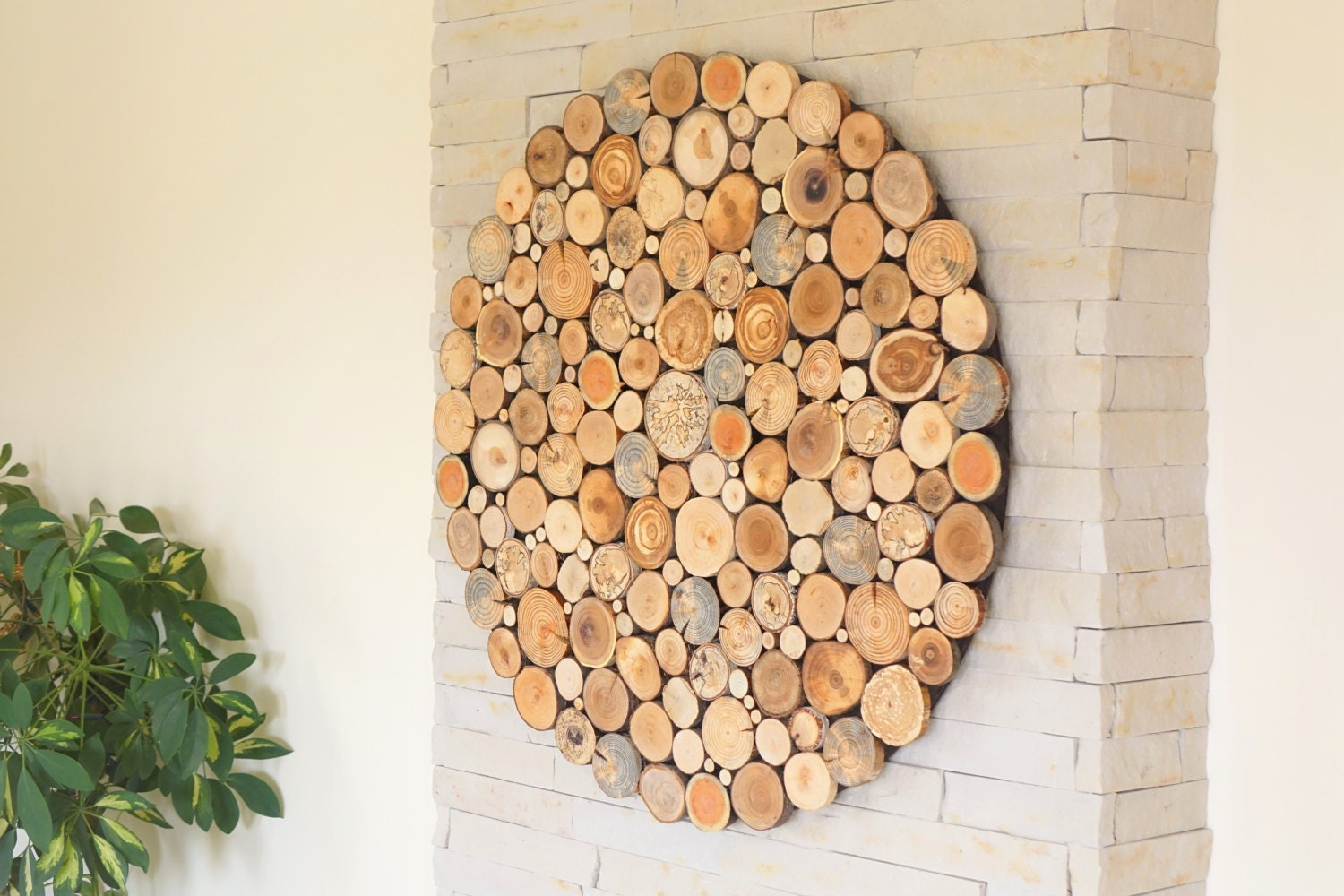 modern wall wood art round wooden wall wooden decor tree - 🔎zoom