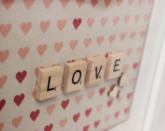 Scrabble Tile Letter Frame Art - Love