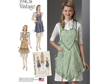 Simplicity Sewing Pattern 8232 1940s Vintage Aprons