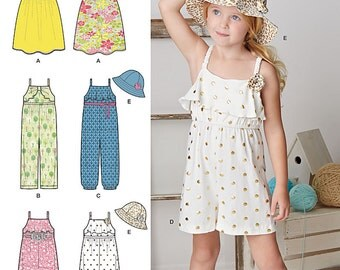 Simplicity Sewing Pattern 8100 Child's Jumpsuit, Romper, Dress and Hat
