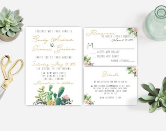 Watercolor Succulent cactus Wedding Invitation Printable,  DIY wedding Succulent Invitation,  Cactus wedding, The Lane collection