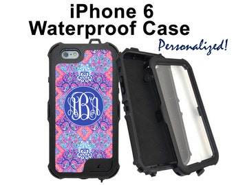 Monogram iPhone 6S Case Personalized iPhone Lilly Pulitzer Inspired Monogrammed Phone Case iPhone 6 6 Plus Water Resistant Heavy Duty #2606