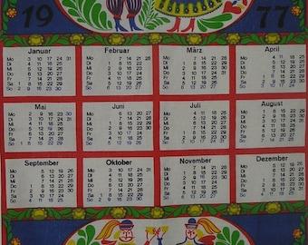 1977 Calendar Tea Towel, Vintage 1977 German Calendar Tea Towel, 1977 Calendar German Tea Towel, Vintage 1977 Calendar Tea Towel