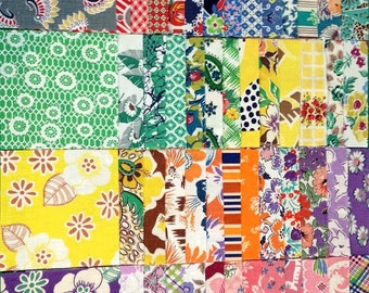 "Vintage Feedsack Feed Sack Fabric 15 - 6"" Squares Charms Quilting Crafts 1930's!"