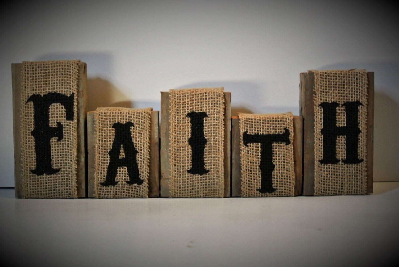 Rustic home decor faith blocks burlap decor faith signs mantle for Faith decor