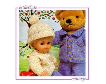 VINTAGE knitting pattern pdf, teddy's denim jacket and jeans, doll's outdoor outfit, teddy bear and doll clothes, INSTANT DOWNLOAD
