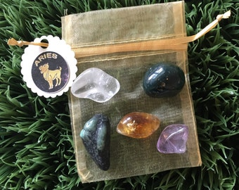 Aries Zodiac Healing Crystals and Stones Pouch - fire sign - Birthday Gifts - March - April - tumbled crystals