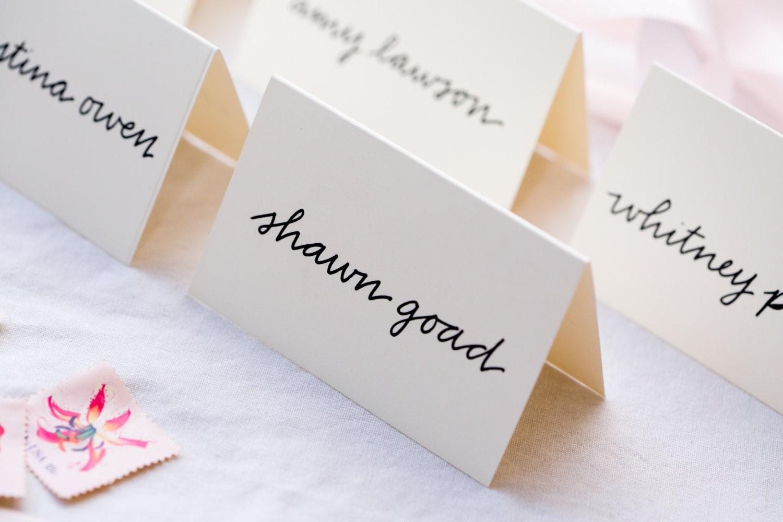 Calligraphy place cards handwritten wedding