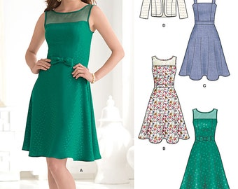 OUT of PRINT New Look Pattern 6243 Misses  illusion bodice dress and full skirt, bolero