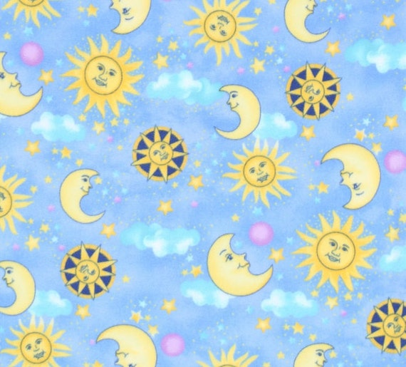 anti pill sun and moon light blue fleece fabric sold by the