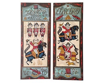 Hand-Painted Colonial Wall Plaques, Pair
