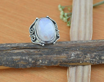 Oval Cab Rainbow Moonstone Gemstone Ring, Moonstone Ring, Solid 925 Sterling Silver Ring, June Birthstone Ring, Classic Gift Ring Size 8
