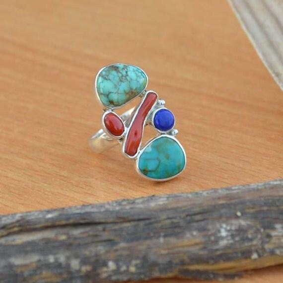 Tibetan Turquoise Ring, Red Coral, Coral Stick, Lapis Lazuli Gemstone Ring, 925 Sterling Silver Ring Size 7, Turquoise Gemstone Ring