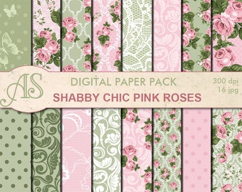 Digital Shabby Chic Pink Roses Paper Pack, 16 printable Digital Scrapbooking papers, retro roses Digital Collage, Instant Download, set 130