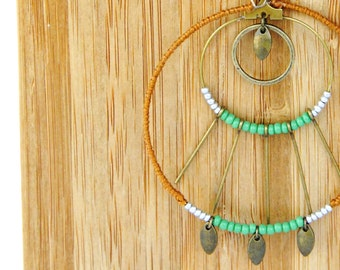 """""""Painting"""" green-brown Medallion necklace"""
