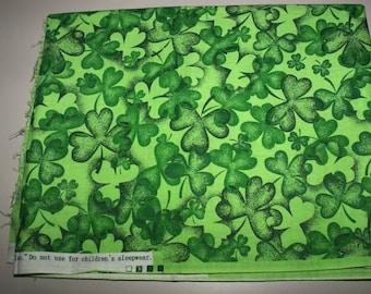 Fabric Green Shamrocks Cotton 44 x 54 inches